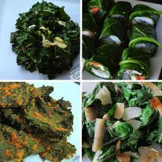 Dark, leafy greens are packed with nutrition. Here are four of my favorite recipes for greens...so much more than just kale!  Clockwise from top left: Simple Garlicky Greens; Paleo Fresh Spring Rolls; Cumin Coconut Chard; Baked Nacho Kale Chips. Get the recipes at stupideasypaleo.com