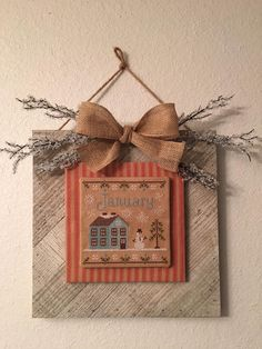 Love the framing! Cross Stitch House, Xmas Cross Stitch, Cross Stitch Pillow, Cross Stitch Borders, Counted Cross Stitch Patterns, Cross Stitch Frames, Cross Stitch Designs, Cross Stitching, Cross Stitch Embroidery