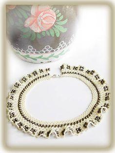 ARTonia,netted,beaded lace,beading,čipkovaný náhrdelník,netted necklace,beaded necklace