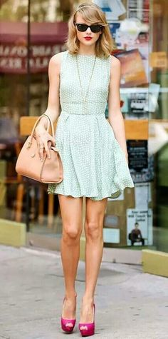 Cute summer mint mini dress. Love Taylor Swift's style!