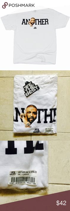 White ANOTHER ONE™ DJ Khaled T-Shirt White ANOTHER ONE™ DJ Khaled T-Shirt: Screen print chest graphic, crew neck, made from 100% Cotton, imported, tagless collar for comfort, still in original packaging, 100% authentic, and item is in excellent condition. We The Best Shirts Tees - Short Sleeve