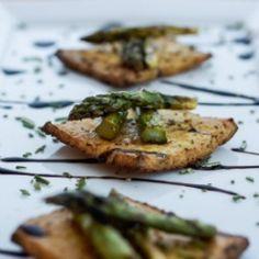 Roasted Asparagus on Tofu Crostini. Asparagus, tofu, allowed oil, allowed dressings and allowed vinegar.
