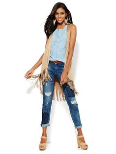 Shop Faux-Suede Fringed Vest . Find your perfect size online at the best price at New York & Company.