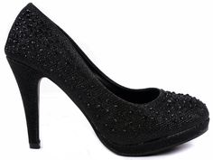 """JJF Shoes Apple5 Black Rhinestone Glitter Sparkling Bling Formal Evening Pumps-7.5. Fitment: Runs very small, the manufacturer recommends ordering one size larger than your normal size. Heel 3.75"""", Platform 0.5""""(Measurements may vary slightly.). Features: A round toe, rhinestone encrusted with mesh upper, a heel that measures approximately 3.75 inches with a half inch platform, perfect low platform pump with a great heel height. Completed with a padded sole and faux suede pad on the…"""