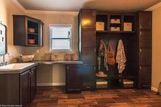 This is my DREAM Laundry Room in The Sonora II at Palm Harbor in San Antonio, TX! This is a manufactured home of Sq. with 3 bedroom(s) and 2 bath(s). Modular Home Floor Plans, House Floor Plans, New Mobile Homes, New Homes, Modular Homes Texas, Palm Harbor Homes, Mudroom, My House, House Design