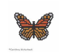 Monarch Butterfly Pendant brick stitch pattern #2 Medium, beading pattern, bead work pattern, peyote stitch pattern