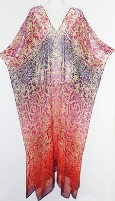 Beautiful Full Length Pure Silk Chiffon Kaftan by by MollyKaftans, $169.00