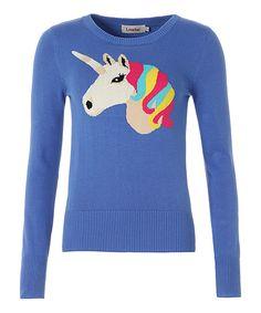 Look at this Blue Unicorn Intarsia Sweater