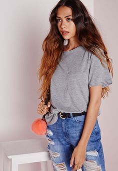 Basic One Pocket T Shirt Grey - Tops - T-Shirts - Missguided