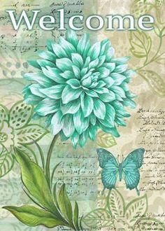 Welcome sign Flores verde agua Decoupage Vintage, Vintage Diy, Vintage Paper, Images Vintage, Vintage Postcards, Vintage Flowers, Vintage Prints, Dahlia, Flower Art