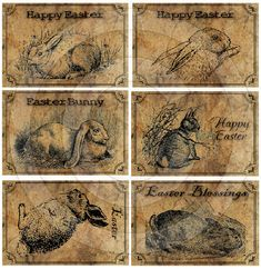 Primitive Easter Rabbit Kitchen Pantry Farmhouse Labels Logo - Printable Digital JPEG - In... $3