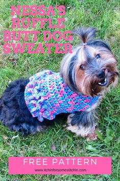 Free Small Dog Crochet Sweater Pattern - This  small dog sweater with ruffles is perfect for your little girl fur babies who are about 10-lbs.  It's so cute and stylish she'll be prancing around like a pampered princess in her fancy tutu coat!  Plus, it's super easy to put together and requires only basic stitches.  Don't let the ruffles intimidate you.  They are actually really simple to make!  #freepattern #dogsweater #petwear #crochet #howto #dogcoat #ruffles #dog #doglovers