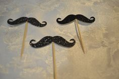 Black Glitter Mustache Cupcake Cake Toppers - Wedding, Birthday, Event. Set of…