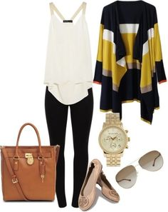Outfit. Maybe sub an asymmetrical black pleather jacket for the cardigan? Something with clean, interesting lines.
