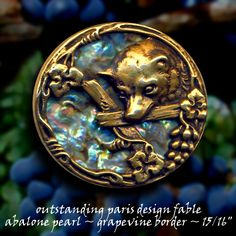 Image Copyright by RC Larner ~ Fabulous 19th C. Fox & Graps Fable with Vivid Abalone Pearl Background in Brass Button ~ R C Larner Buttons at eBay  http://stores.ebay.com/RC-LARNER-BUTTONS