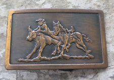 Bull Dogging Western Cowboy Rodeo Vintage Belt Buckle $17.49