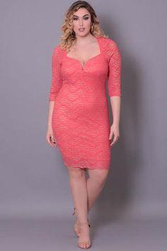 Curvy Sense | Plus Size Clothing -Plus_Size_Womens- Plus Size Sweetheart Midi Dress - Coral