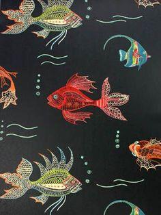 Aquarium Fish Tank -black, red, blue, green [AQU-9800] : Designer Wallcoverings™