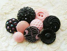 Shabby Chic Pink & Black Vintage Button Mix Destash by Alyssabeths