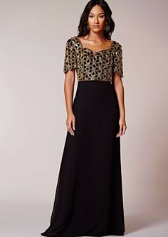 Virgos Lounge Black Gold Embellished Occasion Party Dress 8 to 12
