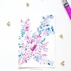 Create a beautiful abstract leaf pattern by following this easy tutorial.Done with colors mauve,turquoise and purple.
