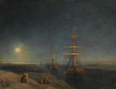 Ships Passing through a Canal in Moonlight, 1876, Ivan Konstantinovich Aivazovsky