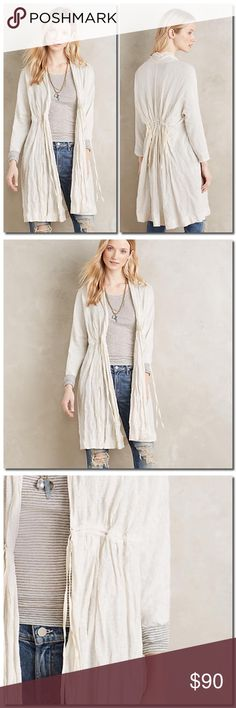 """🎀HP🎀Anthropologie Cardigan Beautiful crinkled Shimmer Cardigan. Cotton, metallic fibers Tie front Hand wash Imported  Dimensions 37.5""""L Sweaters Cardigans"""