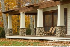 Craftsman Porch with Pathway, Wrap around porch, River Rock - Rio Grande