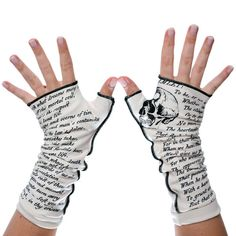 To be, or not to be? We vote to be! To be cozy and warm, that is! Let everyone know about your great taste in literature by adorning your wrists in the words of Shakespeare's Hamlet. These gloves will