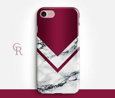 Burgundy Marble Phone Case For  iPhone 8 8 Plus X iPhone 7