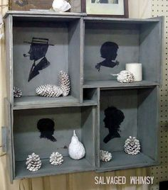 Diy Ideas How to Reuse Old Drawers-use to make Wall Art:-) Shells/Sand in jars would look Great too:-)
