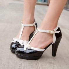 Suzie Shoe - Black with White Strap - Pixie Cove