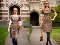 Academia at its finest. A classic preppy dress will get you noticed on campus. Shabby apple.