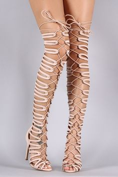 Suede Strappy Cage Lace-Up Open Toe Thigh High Heels http://urban-glam-boutique.myshopify.com/products/ung63935 #shoesopentoeheels #opentoeheels