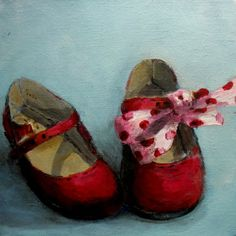 """Out of the Memory Box series - The Red Shoes"".. original painting  FREE usa shipping. Custom painting.  via Etsy.  SOLD"