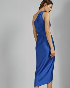 Ted Baker Gabie One Shoulder Drape Midi Dress, Blue Fall Wedding Outfits, Autumn Wedding, Autumn Bride, Blue Midi Dress, Blue Dresses, Midi Dresses, Outlet Clothing, Ted Baker Dress, Discount Dresses