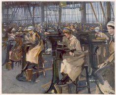 British Paintings: Women working in factory, Newcastle, from British Artists at the Front, Continuation of The Western Front, 1918 - Sir John Lavery