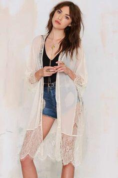 Lash Out Lace Kimono - Jackets + Coats