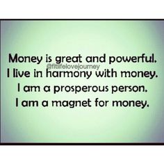You can have money and you deserve it. Let it flow and let it be. Say this affirmation daily. Go Www.fitlifelovejourney.bigcartel.com for more money affirmations. http://www.loapower.net/start-with-law-of-attraction/