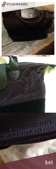 Longchamp Velvet LePliage Authentic--comes with authenticity card. Brand new! Purple/black velvet with leather straps and flapover. No stains/no holes. No wear. Made in Paris, France. Longchamp Bags Shoulder Bags