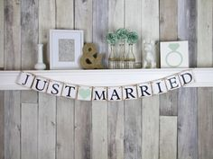 This just married banner by WeddingBannerLove via etsy could be the perfect country-chic background banner for your home-made photo booth. #reception #photobooth