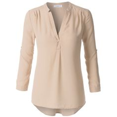 (pre-order) Beige Long Sleeve Blouse (4820 ALL) ❤ liked on Polyvore featuring tops, blouses, long sleeve blouse, long sleeve tops, pink blouse, pink long sleeve top and beige top