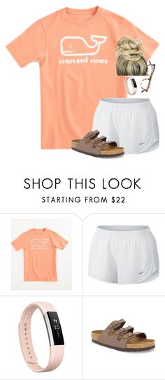 """Keep it simple"" by amberfmillard-1 ❤ liked on Polyvore featuring Vineyard Vines, NIKE, Fitbit, Birkenstock and Garrett Leight"
