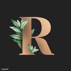 Botanical capital letter R vector   premium image by rawpixel.com / Aum / Kappy Kappy / manotang R Letter Design, Alphabet Letters Design, Typography Alphabet, Letter Art, Fotos Wallpaper, Emoji Wallpaper, Wallpaper Backgrounds, Leaves Wallpaper Iphone, Aesthetic Iphone Wallpaper