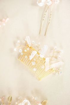 """Stunning with or without a veil, this delicate bridal hair comb features luminous crystal spikes and iridescent Swarovski crystal """"sprigs"""" to form a dreamy accent for your bridal hairstyle. Wear with an updo or to add glam to a short hairstyle. Comb is custom made and handcrafted by Alison Jeffries - J'Adorn Designs. #weddinghair #weddinghairinspo #bride2021 #bridalhair2021 #engagement Bridal Comb, Bridal Headpieces, Bridal Accessories, Bridal Jewelry, Bridal Hairstyle, Short Hairstyle, Classic Wedding Inspiration, Offbeat Bride, Timeless Wedding"""