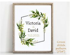Wedding Cross Stitch Patterns, Modern Cross Stitch Patterns, Victoria And David, Alphabet And Numbers, Girl Nursery, Cross Stitching, Wedding Gifts, Floral Wreath, Quilting