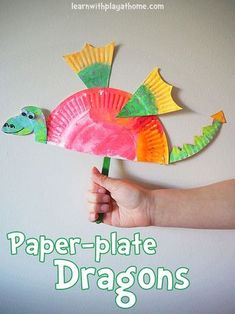 Create a cute Dragon craft using just one paper plate. == Paper Plate Fish, Paper Plate Art, Paper Plate Crafts For Kids, Winter Crafts For Kids, Paper Plates, Spring Crafts, Simple Paper Crafts, Easter Crafts, Paper Plate Animals
