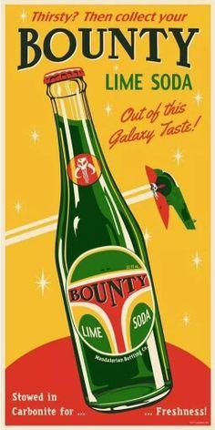 Bounty Boba Fett Soda Steve Thomas Star Wars 4 Ltd Vintage Advertisements, Vintage Ads, Vintage Posters, Steve Thomas, Art Simple, Star Wars Prints, Star Wars Love, Lime Soda, Art Deco Posters