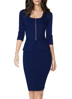 Miusol® Women's Square Neck Busniess Peplum Fitted Casual Bodycon Dress | Amazon.com