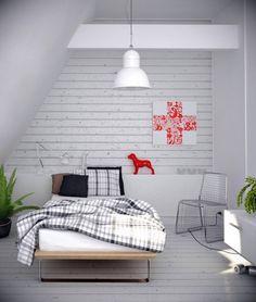 Chambre blanche en soupente - des petits accessoires rouges qui donnent du pep's #white #bedroom #red